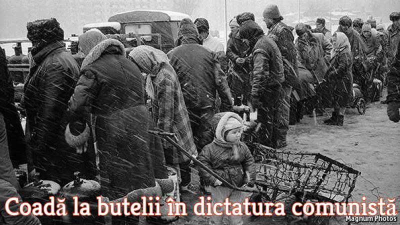 Coadă la butelii în dictatura comunistă