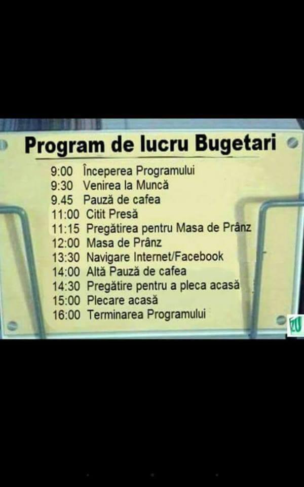 Program lucru bugetari