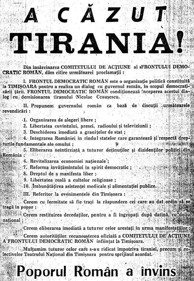16 decembrie 1989 - la Timisoara incepea Revolutia anticomunista
