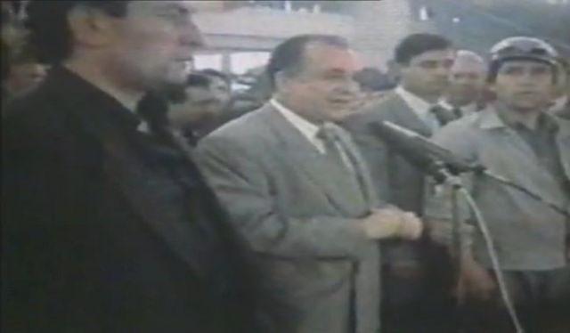 Miron Cozma si Ion Iliescu la mineriada din iunie 1990