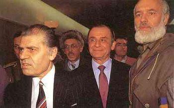 De la stanga: Dumitru Mazilu, Ion Iliescu, Gelu Voican Voiculescu