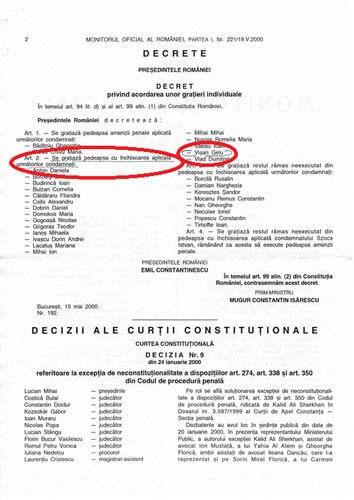 Emil Constantinescu il gratiaza pe Gelu Visan