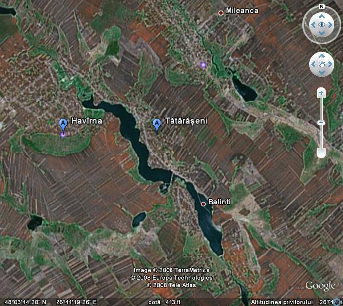 Google Maps: Havarna, Tataraseni, Balinti, Mileanca