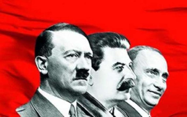 De la stanga: Hitler, Stalin, Putin