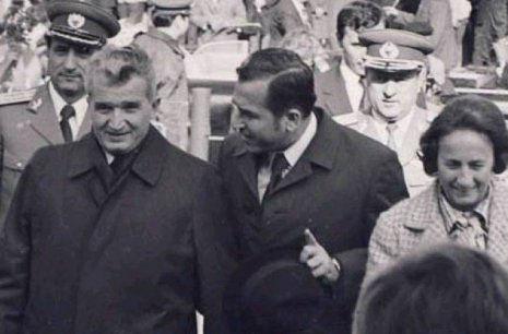De la stanga: Nicolae Ceausescu, Ion Iliescu, Elena Ceausescu