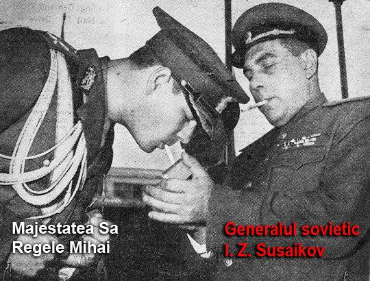 Regele Mihai la o tigara cu generalul sovietic I.Z. Susaikov
