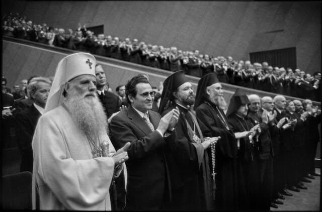 Ierarhi ortodocsi participand la lucrarile congresului Partidul Comunist Roman (ateu)