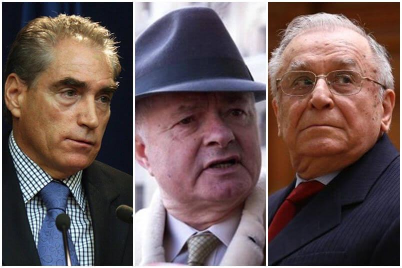 De la stanga: Petre Roman, Virgil Magureanu si Ion Iliescu