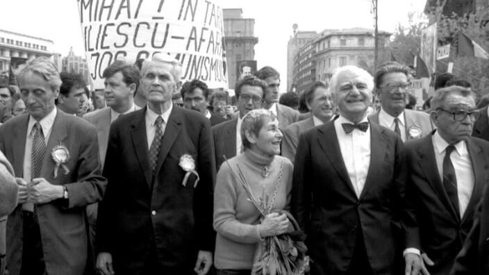 De la stânga: Ion Diaconescu, Corneliu Coposu, Doina Cornea, Ion Raţiu