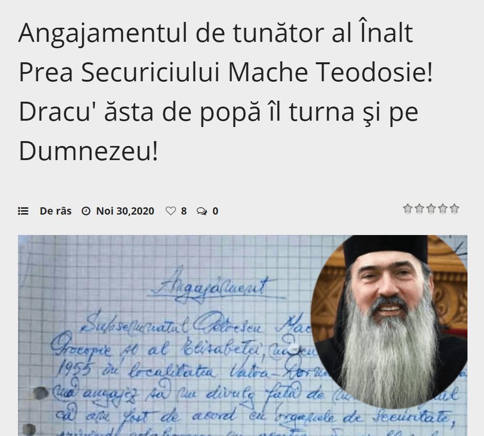 Teodosie Şpagoveanu, turnător la Securitate