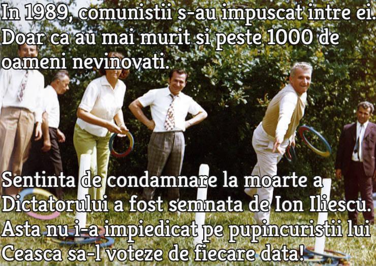 De la stanga: Elena Ceausescu, Ion Iliescu si Nicolae Ceausescu