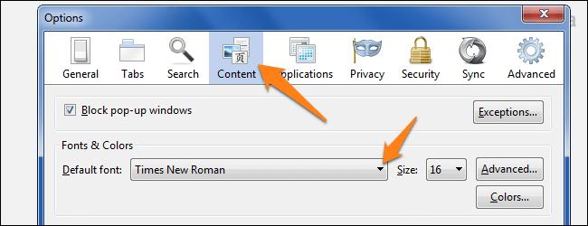 Cum modificam fontul implicit al browser-ului