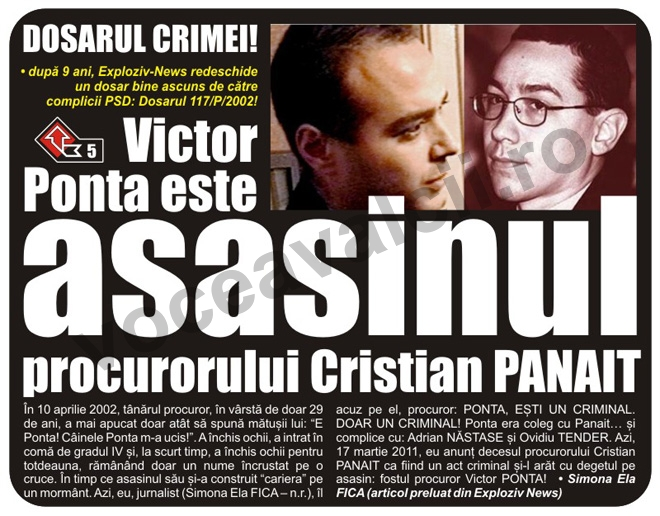 Victor Ponta, asasinul procurorului Cristian Panait